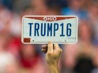 : A supporter holds up a personalized license plate labeled 'Trump16' during a campaign rally for Republican presidential candidate Donald Trump at the Greater Columbus Convention Center on November 23, 2015 in Columbus, Ohio. Trump spoke about immigration and Obamacare, among other topics, to around 14,000 supporters at the event.