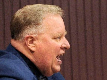 Lewiston mayor Robert MacDonald makes a point during a mayoral candidate debate in 2011.