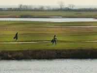 Golfers walk along the water during an afternoon of warm and sunny weather on December 13, 2015 in Fairfield, Connecticut. Temperatures across much of the New York metropolitan area continued to be unseasonably warm with a record breaking mid 60's being recorded in many areas. The warm weather is expected …