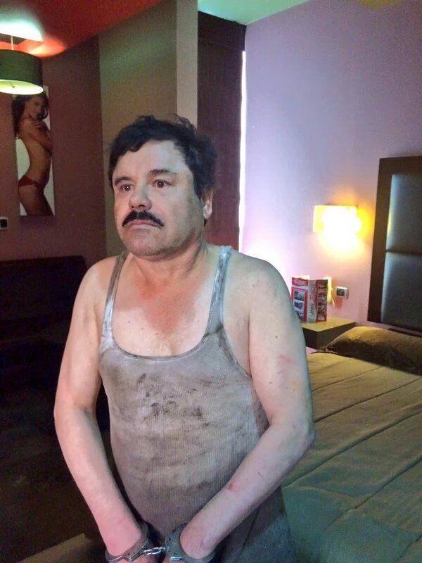 El Chapo in custody, again. (Leaked social media photo.)