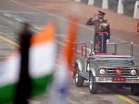 Indian Army Lieutenant General Rajan Ravindran salutes as he participates in India's Republic Day parade in New Delhi on January 26, 2016. Thousands gathered in New Delhi amid tight security January 26 for India's annual Republic Day parade, a pomp-filled spectacle of military might featuring camels and daredevil stuntwomen, with …