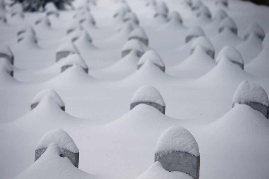 Headstones are nearly covered by snow at Arlington National Cemetery. (AP Photo/Alex Brandon)