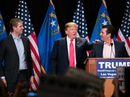 Eric Trump, Donald J. Trump and Donald Trump Jr. pictured at Donald J. Trump Rally at South Point Resort & Casino in Las vegas, NV on January 21, 2016. Credit: