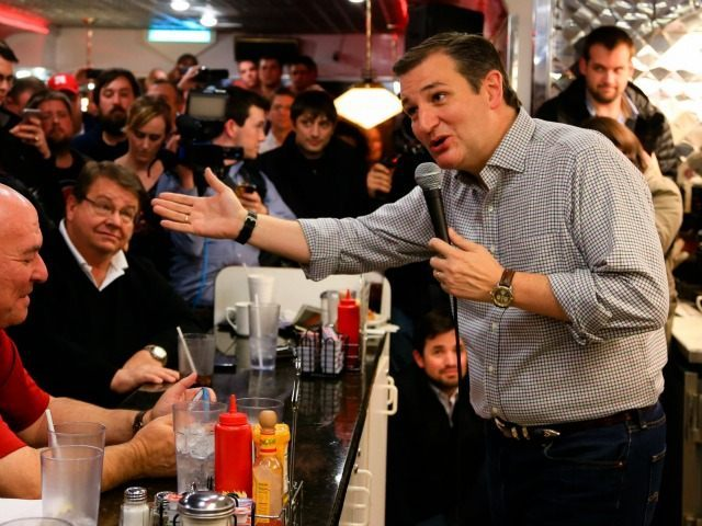 Republican Presidential candidate Sen. Ted Cruz, R-Texas, campaigns at Penny's Diner in Missouri Valley, Iowa, Monday, Jan. 4, 2016.