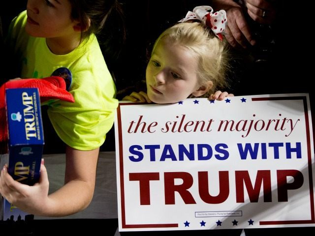 A young girl stands at the rope line as Republican presidential candidate Donald Trump greets members of the audience after speaking at a rally at Muscatine High School in Muscatine, Iowa, Sunday, Jan. 24, 2016. ()