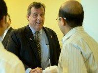 Republican presidential candidate, New Jersey Gov. Chris Christie greets Fidelity Investments employees, Monday, Jan. 25, 2016, at their facility in Merrimack, N.H. (