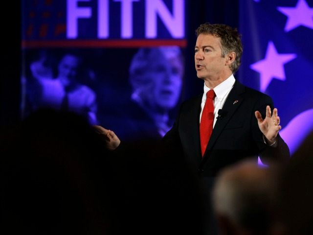 Republican presidential candidate, Sen. Rand Paul, R-Ky. speaks Saturday, Jan. 23, 2016, at the New Hampshire Republican Party summit in Nashua, N.H.