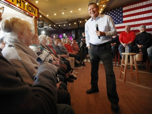 Republican presidential candidate Gov. John Kasich, R-Ohio, speaks to voters during a campaign stop at a music club tavern called the Stone Church Monday, Jan. 25, 2016, in Newmarket, N.H. (