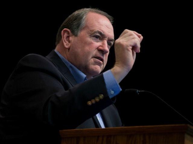 Republican presidential candidate former Arkansas Gov. Mike Huckabee, speaks during a campaign event at Faith Baptist Bible College, on Tuesday, Jan. 26, 2016, in Ankeny, Iowa. (