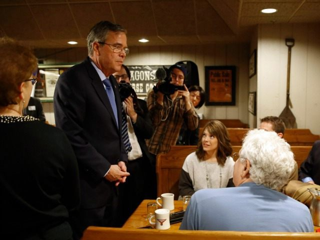 Jeb Bush, left, visits with attendees after speaking at a campaign stop, Wednesday, Jan. 13, 2016, in Urbandale, Iowa.