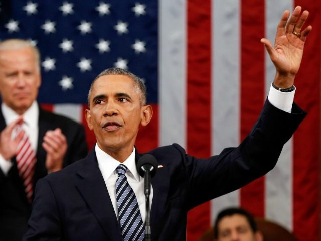 President Barack Obama waves at the conclusion of his State of the Union address to a joint session of Congress on Capitol Hill in Washington, Tuesday, Jan. 12, 2016.
