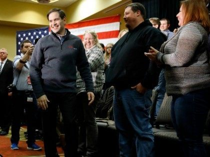 Republican presidential candidate, Sen. Marco Rubio, R-Fla., arrives at a town hall in West Des Moines, Iowa, Tuesday, Jan. 26, 2016. ()