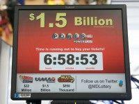 A sign for the Powerball jackpot is seen at the Sunnybrook Tavern and Liquor Store, Wednesday, Jan. 13, 2016 in Fort Washington, Md. The estimated Powerball jackpot was holding steady at $1.5 billion just hours ahead of Wednesday, Jan. 13, 2016, night's drawing, though same-day ticket sales could push the …