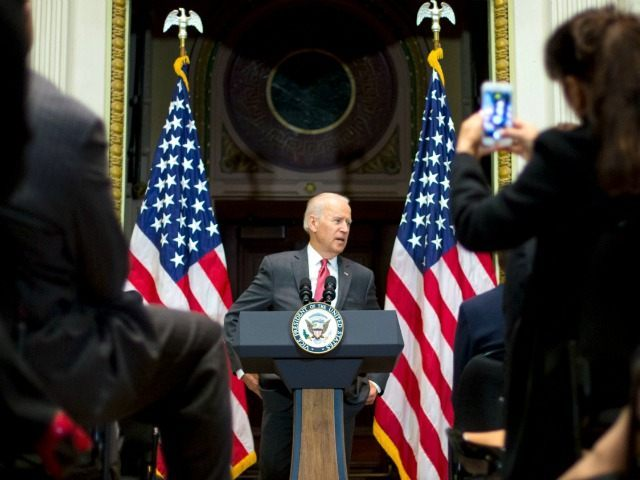 Vice President Joe Biden speaks at the '100,000 Strong in the Americas' event, Monday, Dec. 14, 2015, in the Indian Treaty Room of the Eisenhower Executive Office Building on the White House complex in Washington. The event recognizes the accomplishments made over the past 3 years of the 100,000 Strong in Americas initiative.