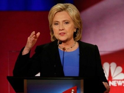 Democratic presidential candidate, Hillary Clinton speaks at the NBC, YouTube Democratic presidential debate at the Gaillard Center, Sunday, Jan. 17, 2016, in Charleston, S.C. (
