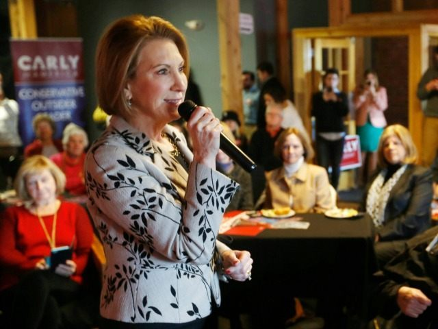 Republican presidential candidate Carly Fiorina, speaks Wednesday, Jan. 6, 2016, in Dover, N.H.
