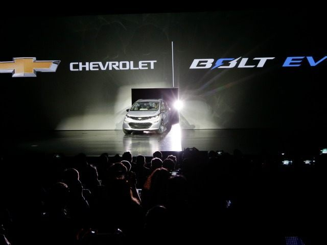 The Chevrolet Bolt EV electric car is unveiled at CES International Wednesday, Jan. 6, 2016, in Las Vegas.