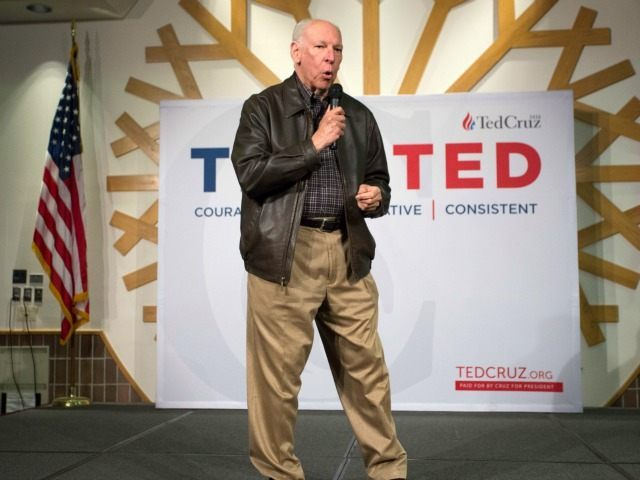 Rafael Cruz tells speaks to supporters about his son, Republican presidential candidate Sen. Ted Cruz, R-Texas during a campaign stop in Oklahoma City, Wednesday, Dec. 23, 2015. (