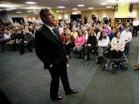 Republican presidential candidate former Florida Gov. Jeb Bush speaks during a meeting with employees at Nationwide Insurance, Wednesday, Jan. 27, 2016, in Des Moines, Iowa. (