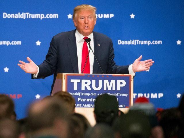 Republican presidential candidate Donald Trump speaks during a campaign stop at Farmington High School, Monday, Jan. 25, 2016, in Farmington, N.H. (
