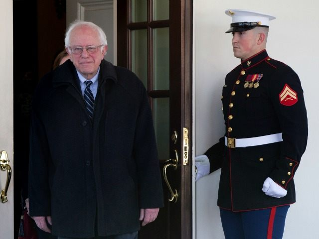 Democratic presidential candidate Sen. Bernie Sanders, I-Vt., walks from the West Wing of the White House in Washington, Wednesday, Jan. 27, 2016, to speak to media after meeting with President Barack Obama. )