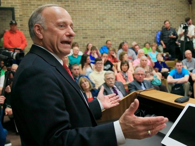 Rep Steve King, R-Iowa,, at a town hall event at Morningside College in Sioux City, Iowa, Wednesday, April 1, 2015.