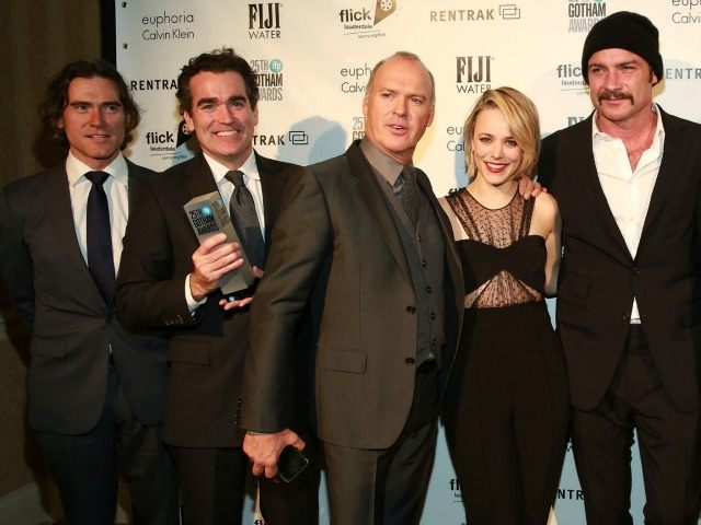 "This Nov. 30, 2015, file photo shows the cast of ""Spotlight"", which was named best feature, screenplay and acting ensemble, pose at the 2015 IFP Gotham Independent Film Awards at Cipriani Wall Street, in New York. The high-octane ""Mad Max: Fury Road"" might have driven off with the most awards …"