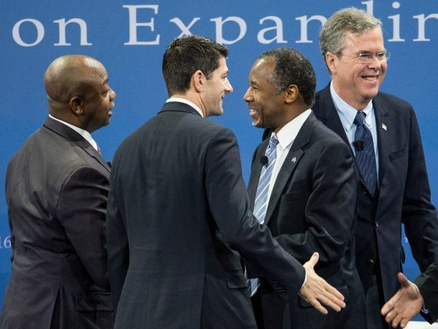 In a Saturday, Jan. 9, 2016 file photo, Republican presidential candidates Ben Carson, center, Jeb Bush and Sen. Tim Scott, R-S.C., left, and House Speaker Paul Ryan of Wis. at the Kemp Forum, in Columbia, S.C.