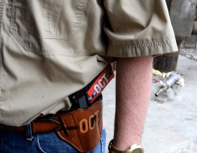 Open Carry Texas Founder C.J. Grisham displays his handgun open carry style. (Breitbart Texas Photo by Bob Price)