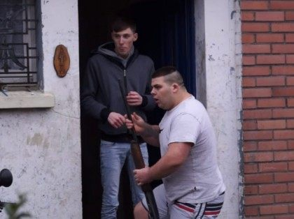 A Calais Man brandishes an airsoft rifle at a gang of migrants mobbing his house. 25th January 2016