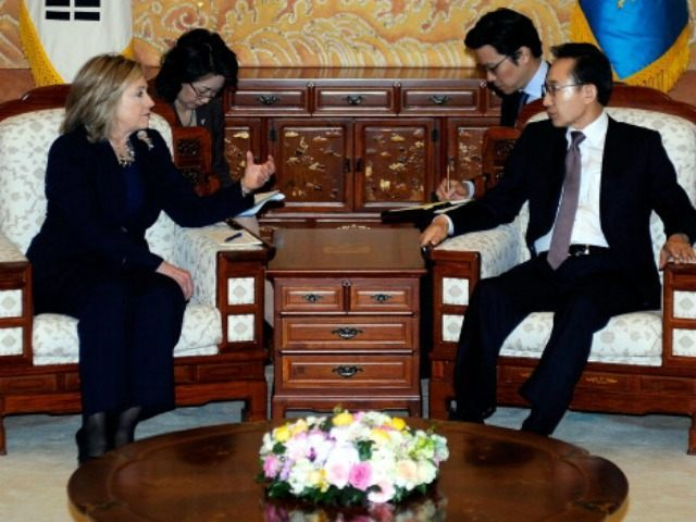 South Korean President Lee Myung-Bak talks with U.S. Secretary of State Hillary Clinton during their meeting at the Presidential House on April 17, 2011 in Seoul, South Korea. Secretary Clinton is in South Korea on a two day visit to discuss North Korea's nuclear programs. (Photo by )