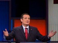 Republican Presidential candidate Texas Senator Ted Cruz speaks during the Republican Presidential debate sponsored by Fox News at the Iowa Events Center in Des Moines, Iowa on January 28, 2016. / AFP / AFP PHOTO / Jim WATSON / The erroneous mention[s] appearing in the metadata of this photo by …