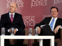 LONDON, ENGLAND - APRIL 27: David Cameron (r), the leader of the Conservative party, and Chris Grayling, the Shadow Home Secretary, listen to a speech on April 27, 2010 in London, England.
