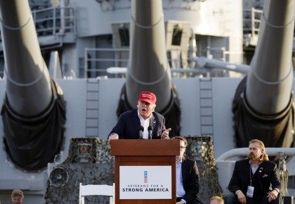 Republican presidential candidate Donald Trump speaks during a campaign event aboard the retired ship USS Iowa in Los Angeles on Tuesday, Sept. 15, 2015. (AP Photo/Kevork Djansezian) ORG XMIT: CAKD110