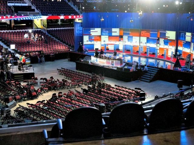 Empty Debate Hall Andrew Harnik AP