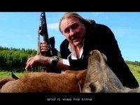 Actor Gérard Depardieu Holds Hunting Rifle by Dead Deer in Ad