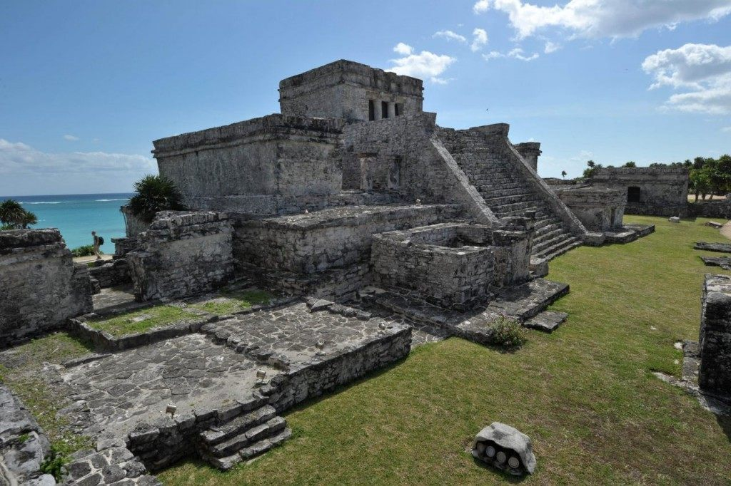 Picture of The Castle, the main temple at the Pre-Columbian Mayan site of Tulum, built on the eastern coast of the Yucatan Peninsula on the Caribbean Sea, in the Mexican state of Quintana Roo. This coastal archaeological site is one of the most well-preserved of the Mayan civilization. (CRIS BOURONCLE/AFP/Getty Images)