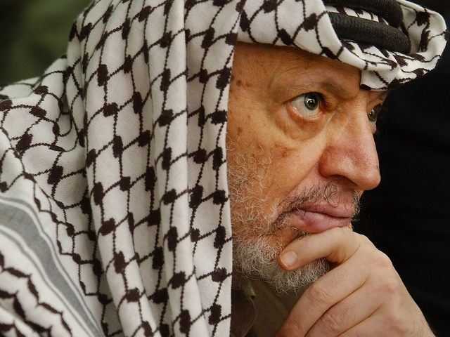 405490 02: Palestinian leader Yasser Arafat attends Friday prayers May 17, 2002 at his headquarters in the West Bank town of Ramallah. Arafat said Friday there could not free Palestinian elections until the Israel military occupation ended in the West Bank and Gaza Strip. (Photo by Chris Hondros/Getty Images)
