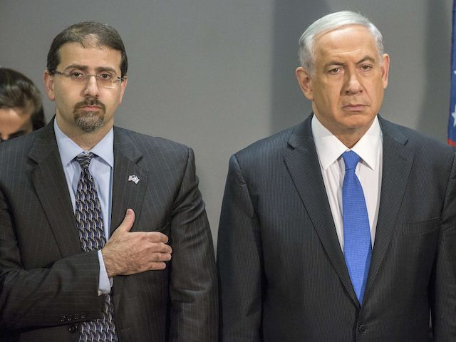 Israeli Prime Minister Benjamin Netanyahu (R) and Daniel B. Shapiro (L) the US Ambassador to Israel listen to the US national anthem during the 14th annual International Conference on Counter-Terrorism in the coastal city of Herzliya, north of Tel Aviv, on September 11, 2014. Netanyahu showed his support for US …