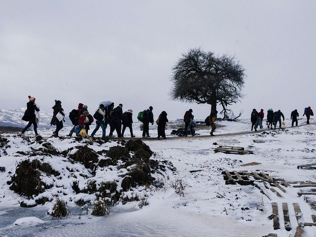 TOPSHOT - Migrants and refugees walk through snow covered fields, after crossing the Macedonian border into Serbia near the village of Miratovac, on January 18, 2016.     More than one million migrants reached Europe in 2015, most of them refugees fleeing war and violence in Afghanistan, Iraq and Syria, according to the United Nations refugee agency.   / AFP / DIMITAR DILKOFF        (Photo credit should read DIMITAR DILKOFF/AFP/Getty Images)