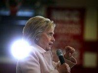 """Democratic presidential candidate former Secretary of State Hillary Clinton speaks during a """"get out the caucus"""" event at Grand View University on January 29, 2016 in Des Moines, Iowa.  With less than a week to go before the Iowa caucuses, Hillary Clinton is campaigning throughout Iowa."""