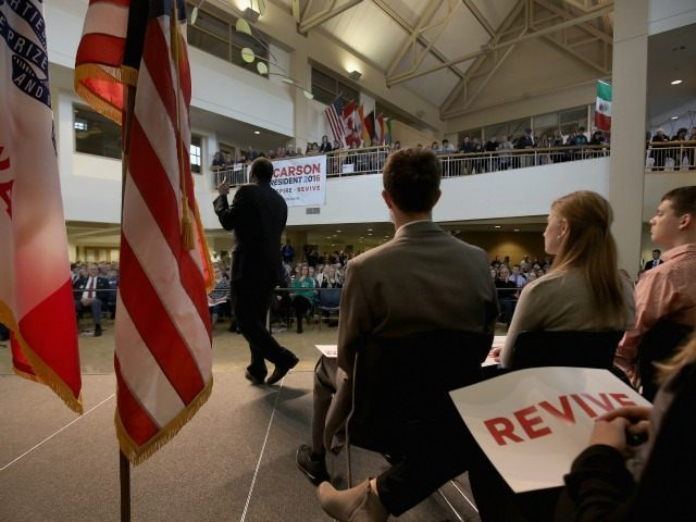 Republican presidential candidate Ben Carson speaks during his 'Trust in God' town hall event at Dordt College on January 30, 2016 in Sioux Center, Iowa. Carson and other presidential hopefuls are in Iowa trying to gain support and crucial votes for the state's February 1 caucuses.