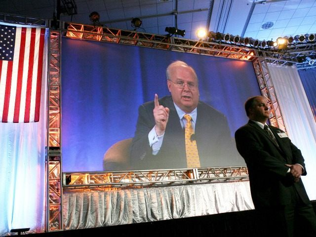 SAN FRANCISCO - OCTOBER 21: Karl Rove, former Deputy Chief of Staff and Senior Advisor to U.S. President George W. Bush, is seen on a video projection as he speaks during a panel discussion at the 2008 Mortgage Bankers Association Conference and Expo October 21, 2008 in San Francisco, California. …
