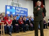 Democratic presidential candidate, former Secretary of State Hillary Clinton speaks during a 'get out the caucus' event at Berg Middle School on January 28, 2016 in Newton, Iowa. With less than a week to go before the Iowa caucuses, Hillary Clinton is campaigning throughout Iowa. (Photo by)