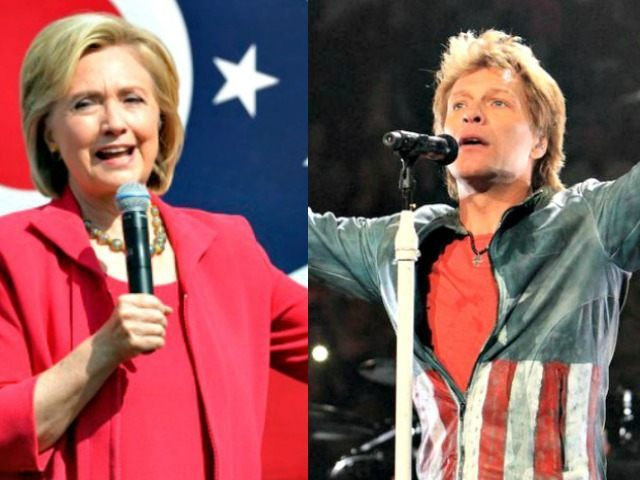 Hillary and Bon Jovi AP Photos
