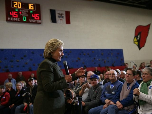Democratic presidential candidate former Secretary of State Hillary Clinton speaks during a 'get out the caucus' event at Berg Middle School on January 28, 2016 in Newton, Iowa. With less than a week to go before the Iowa caucuses, Hillary Clinton is campaigning throughout Iowa. (Photo by