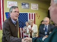 HIAWATHA, IA - JANUARY 31: Republican presidential candidate Jeb Bush greets audience members following a campaign event at his local field office on January 31, 2016 in Hiawatha, Iowa. The Democratic and Republican Iowa Caucuses, the first step in nominating a presidential candidate from each party, will take place on …