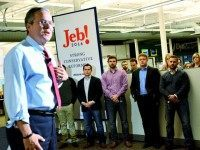 MANCHESTER, NH - NOVEMBER 19: Republican Presidential candidate Jeb Bush speaks at Dynamic Network Services Incorporated November 19, 2015 in Manchester, New Hampshire. Bush met with employees at the Internet performance company as he continues to fight for momentum in the race for the nomination. (Photo by Darren McCollester/Getty Images)