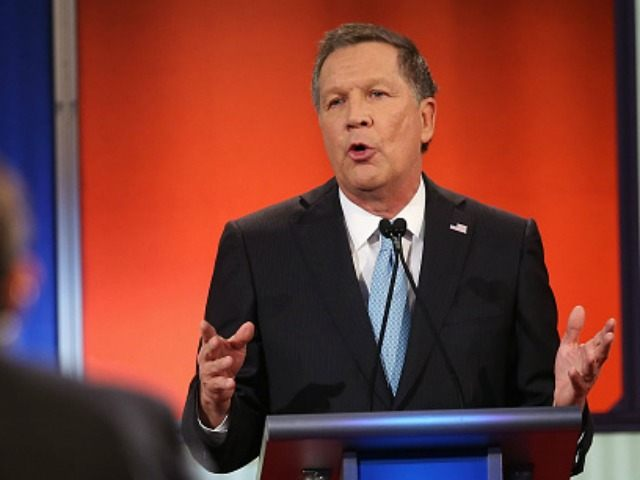 Republican presidential candidate Ohio Governor John Kasich participates in the Fox News - Google GOP Debate January 28, 2016 at the Iowa Events Center in Des Moines, Iowa. Residents of Iowa will vote for the Republican nominee at the caucuses on February 1. Donald Trump, who is leading most polls in the state, decided not to participate in the debate. (Photo by