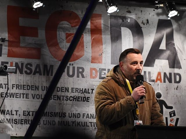 Lutz Bachmann,leader of the PEGIDA movement (Patriotic Europeans Against the Islamisation of the Occident)speaks to protestors during a rally in Leipzig on January 11, 2016. Supporters of the xenophobic far-right movement PEGIDA gathered to mark the first year of the local chapter LEGIDA, as public anger runs high over the Cologne assaults. / AFP / TOBIAS SCHWARZ (Photo credit should read TOBIAS SCHWARZ/AFP/Getty Images)